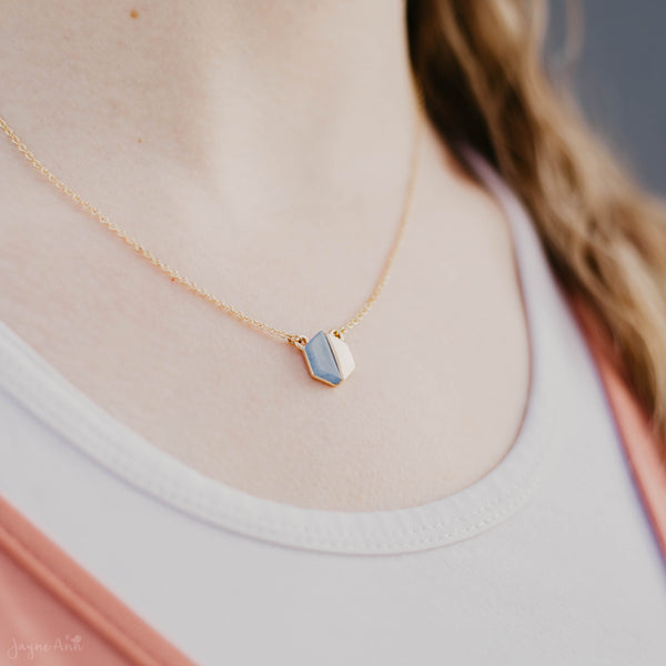 Two Tone Hexagon Necklace