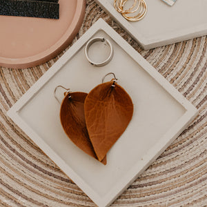Worn Brown Petal Leather Earrings