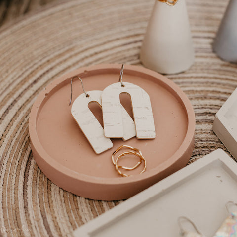 White Leather Cork Arch Earrings