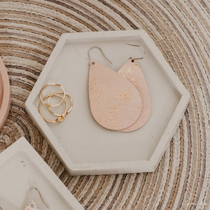 Pink and Rose Gold Splash Leather Earrings