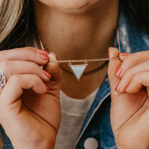 Gold and mint triangle pendant necklace