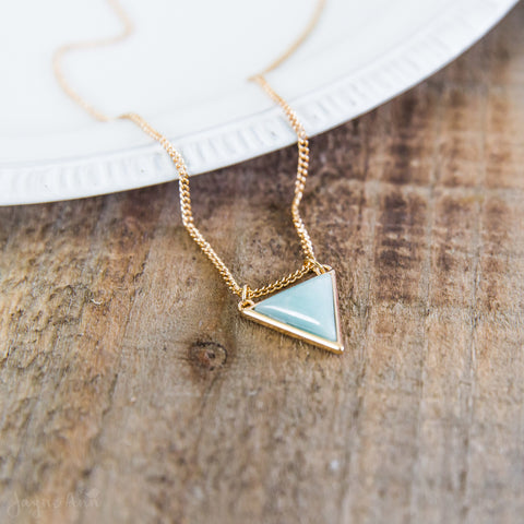 Mint Triangle Pendant Necklace