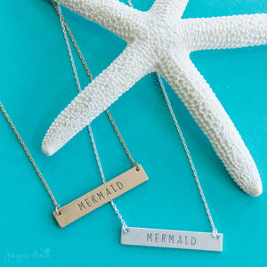 Mermaid Stamped Bar Necklace