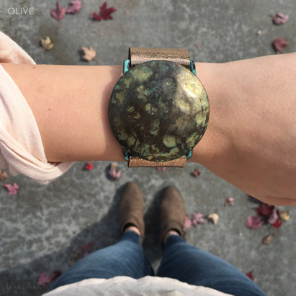 Patina Circle Faux Leather Bracelet