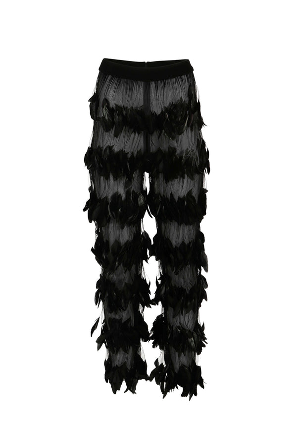 Layered feathers tulle pants