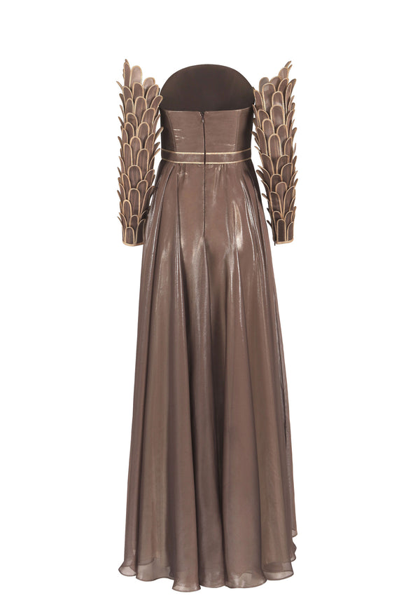 Corseted bronze dress