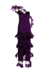 purple dress with feathers