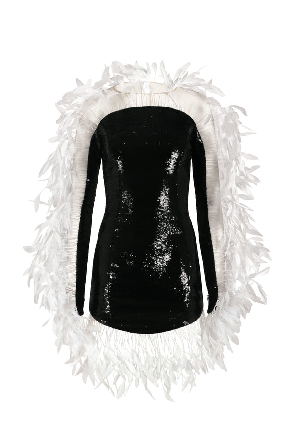 Mini dress in jet black sequin and feathers