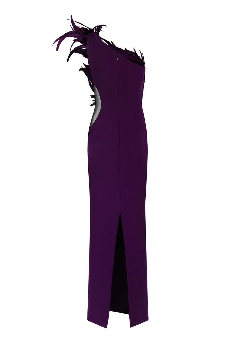 One-shoulder purple dress