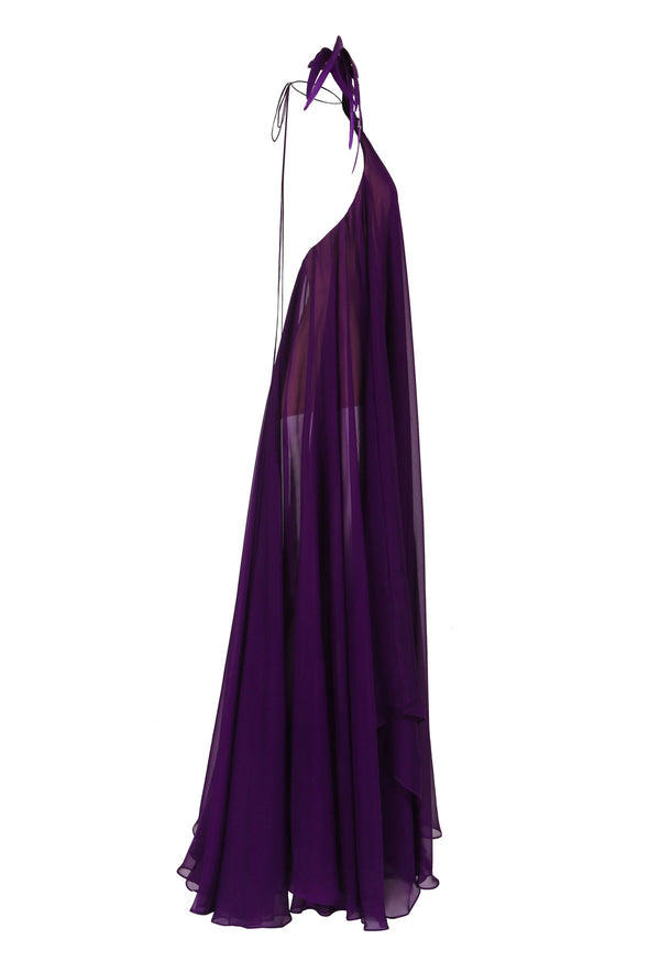 Halter neck chiffon purple dress