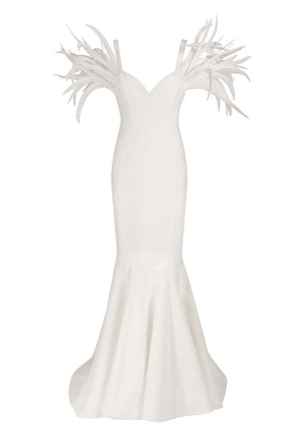A white silk crêpe mermaid gown