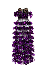 Purple feathers dress