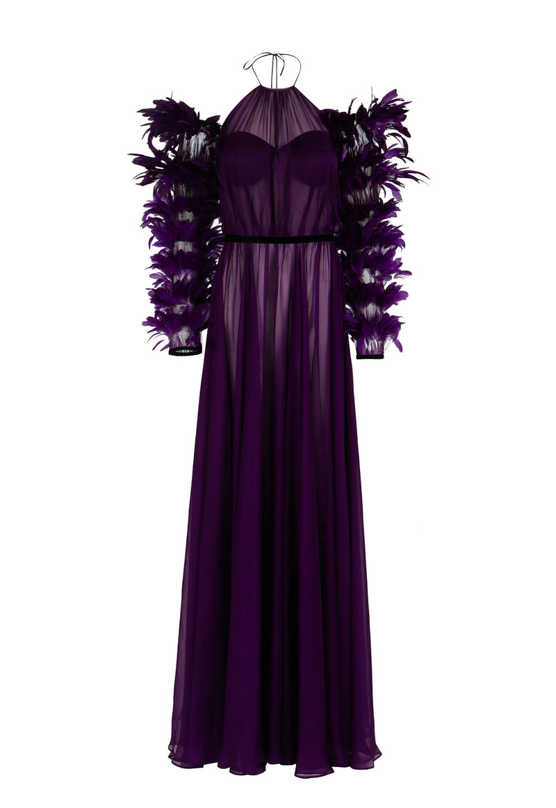 Halter purple dress with feathered sleeves