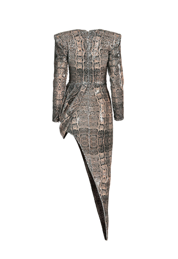 Embroidered snakeskin dress