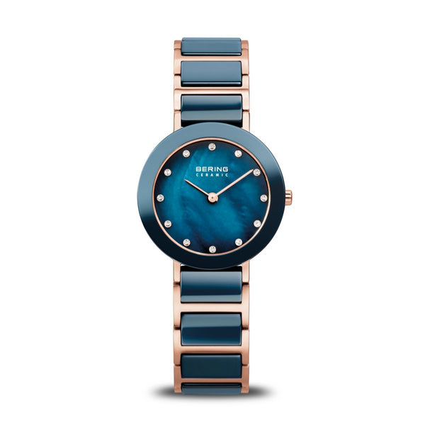Bering Ceramic Polished Rose Gold Blue Watch