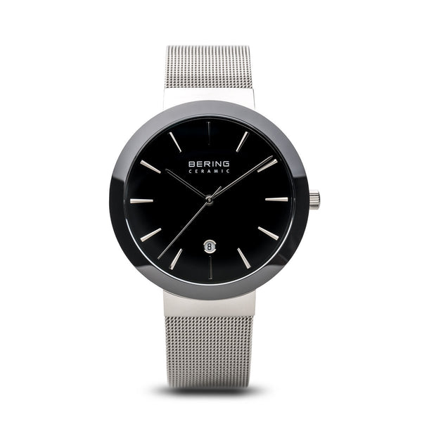 Bering Ceramic Polished Silver Black Watch