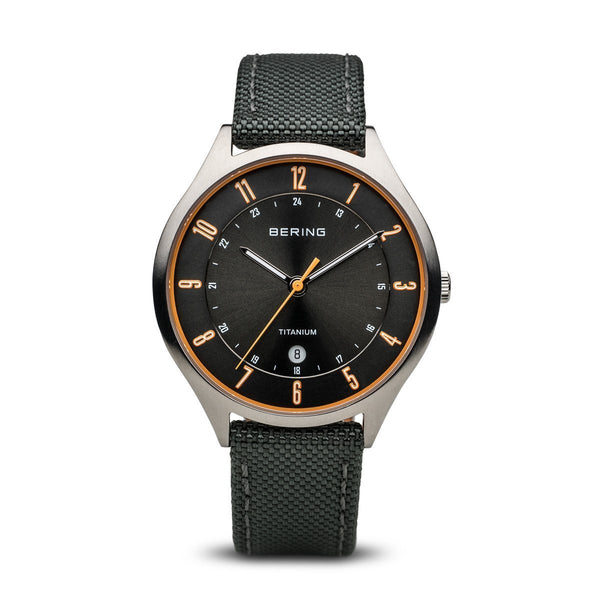 Bering Titanium Brushed Silver Black Watch