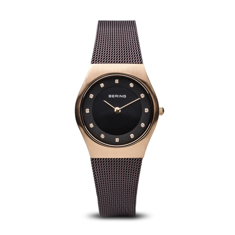 Bering Classic Brushed Gold Brown Mesh Watch