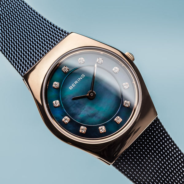 Bering Classic Polished Rose Gold Navy Blue Watch