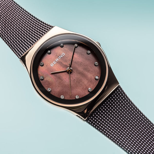 Bering Classic Polished Rose Gold Brown Milanese Mesh Watch