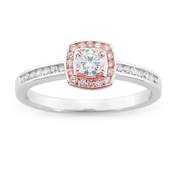 PINK CAVIAR 0.42ct Pink Diamond Halo Engagement Ring in 9ct White & Rose Gold