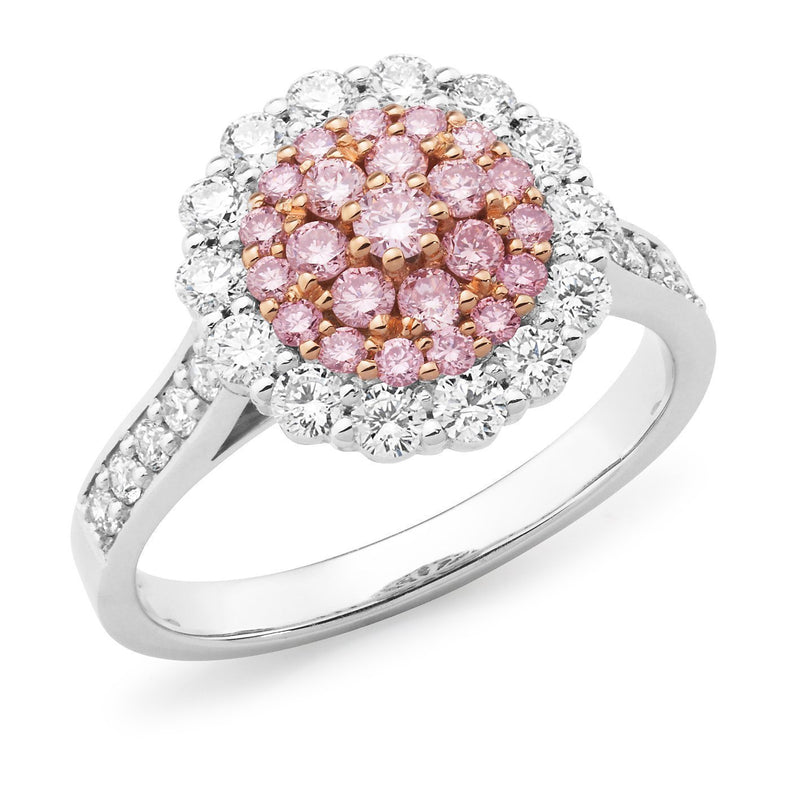 PINK CAVIAR 0.90ct Pink Diamond Ring in 18ct White & Rose Gold