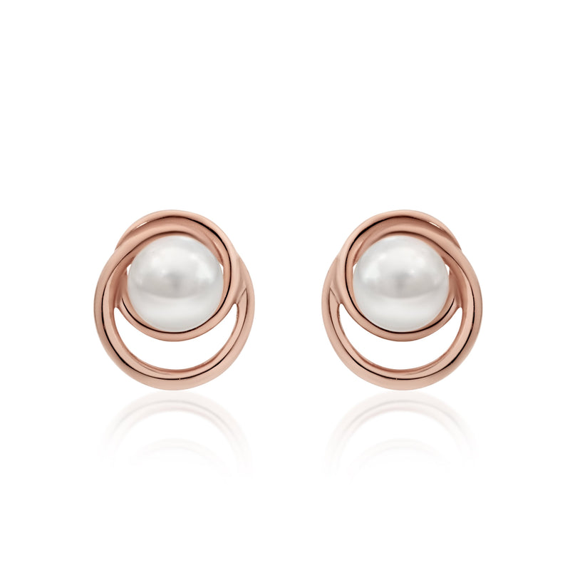 9Ct Rose Gold Freshwater Pearl Stud Earrings