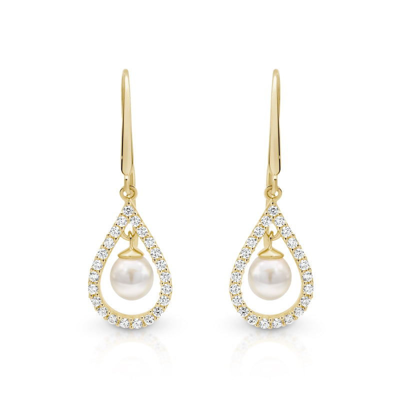 9Ct Gold Cubic Zirconia Freshwater Pearl Drop Earrings