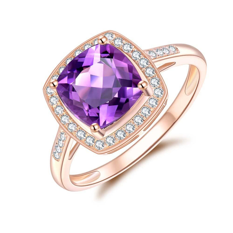 Amethyst & Diamond Ring in 9ct Rose Gold