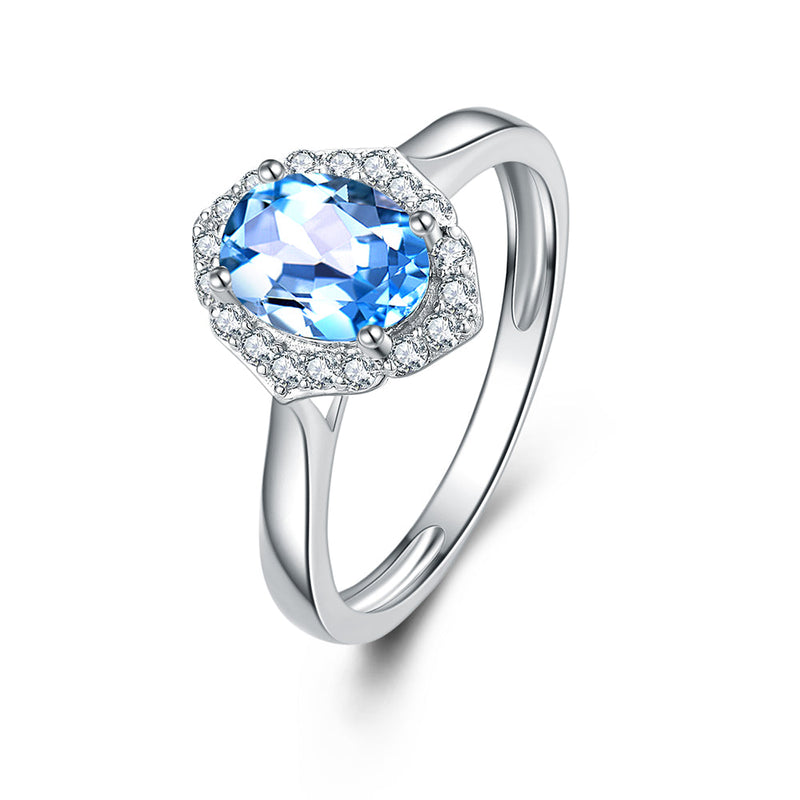 9Ct White Gold Blue Topaz & 0.18Ct Diamond Ring