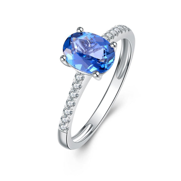 9Ct White Gold London Blue Topaz & 0.15Ct Diamond Ring