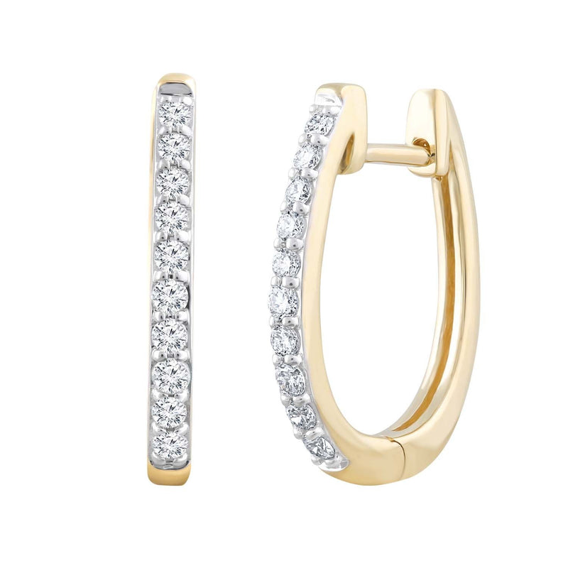 Huggie Earrings with 0.25ct Diamonds in 9K Yellow Gold