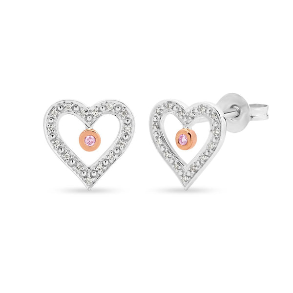 PINK CAVIAR 0.08ct Pink Diamond Earrings in 9ct White Gold