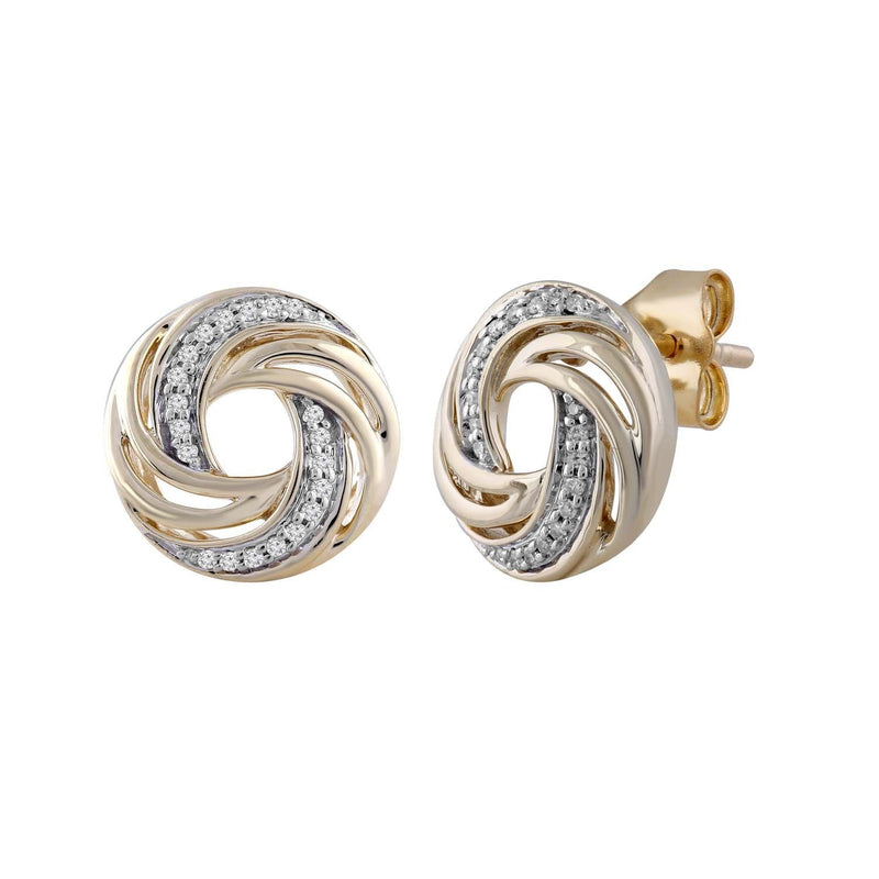 Earrings with 0.07ct Diamond in 9K Yellow Gold