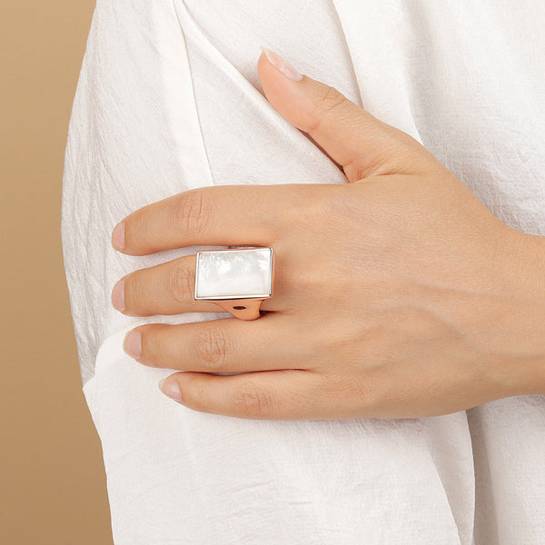 Bronzallure Mother Of Pearl Adjustable Ring