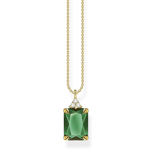 Thomas Sabo Necklace Green Stone Gold