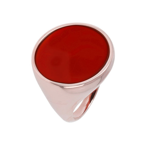 Bronzallure Red Fossil Wood Chevalier Ring
