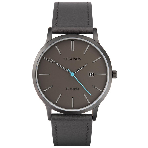 Sekonda Men's Grey Leather Strap Watch SK1844