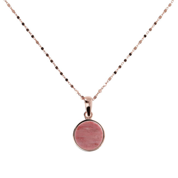 Bronzallure Red Fossil Small Disc Necklet