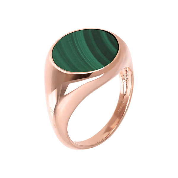 Bronzallure Malachite Disc Rings