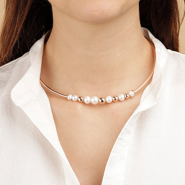 Bronzallure Chocker Necklace With Pearls And Golden Rose Beads