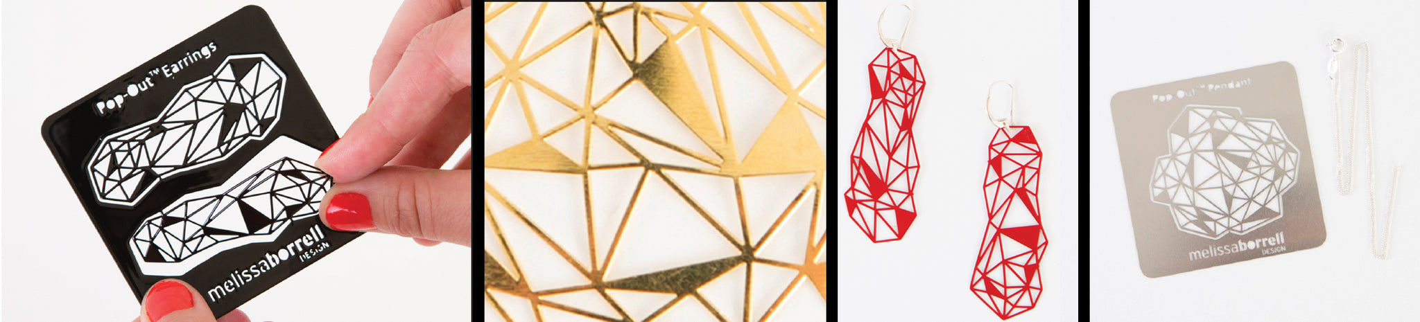 Four panel image. Crystal earrings card with two hands twisting the jewelry out. Close up of gold crystal jewelry. Crystal jewelry with hoops. Flat card geometric crystal pendant with chain.