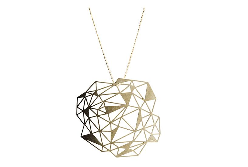 Crystal Pop Out Jewelry pendant on chain with white background