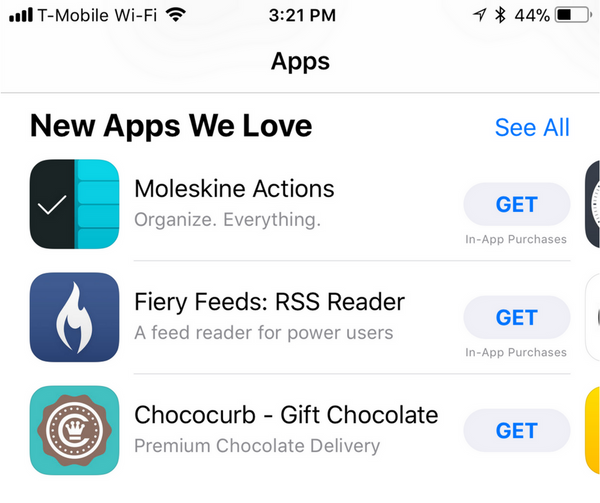"Chococurb Featured in Apple's ""New Apps We Love"""
