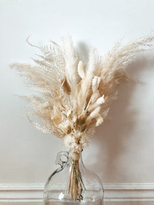 everlasting bouquet, dried floral bouquet, dried flowers, pampas grass, lunaria