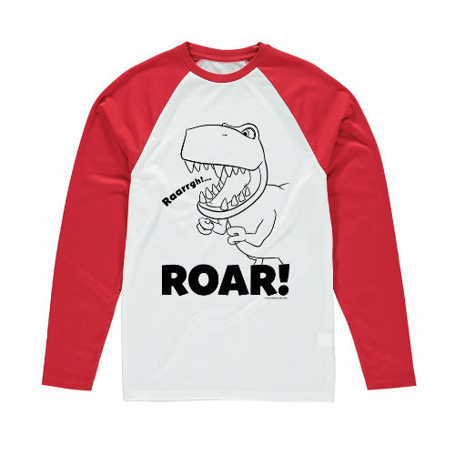 Dinosaur Roar Lineart Long-Sleeved T-Shirt