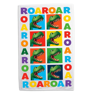 Dinosaur Roar Squares Tea Towel