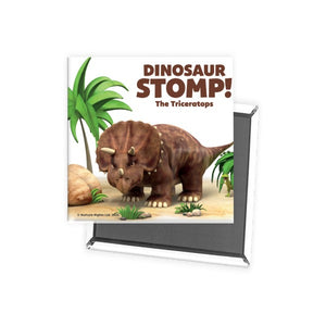 Dinosaur Stomp The Triceratops Square Magnet