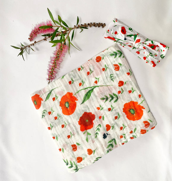 Poppies Muslin Wrap and Topknot Bow Set