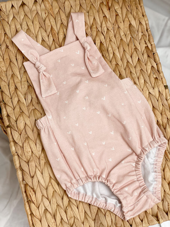 Overall Romper- Heart on Blush